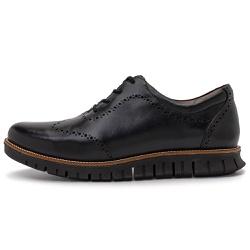 Sapato Casual Masculino Oregon Em Couro Comfort Fumê Preto - D&R SHOES