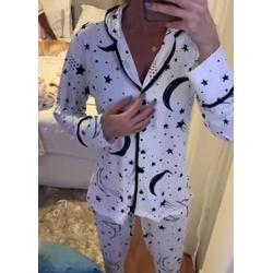 Pijama Nah Branco Lua - L37 - DIVINA STORE
