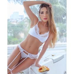Conjunto Brigitte Branco + Cinta Liga - C108A - DIVINA STORE