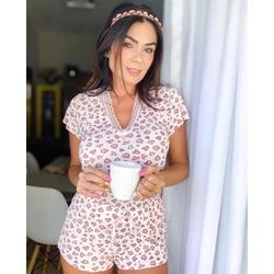 Pijama Lívia Onça Rosa - M611 - DIVINA STORE