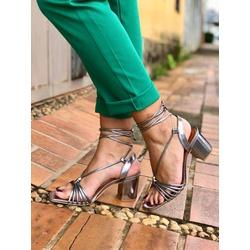Sandália salto bloco com tiras metalizado Donna Cl... - DONNACLO