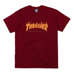Camiseta Thrasher Flame Logo Burgundy - 2115 - DREAMSSKATESHOP