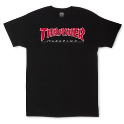 Camiseta Thrasher Outlined Black Red - 2116 - DREAMSSKATESHOP