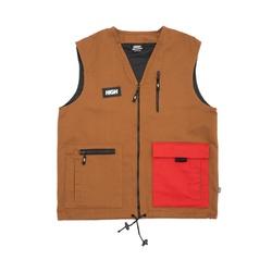 Color Block High Vest Brown/Red - 2531 - DREAMSSKATESHOP
