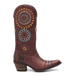 Bota Texana Feminina Omaha Rock Oil Camel - ELITECOUNTRY
