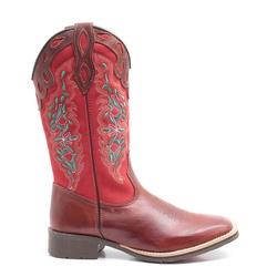 Bota Texana Feminina Dilley Fossil Vermelho Marrom - ELITECOUNTRY