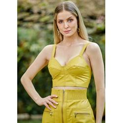 Cropped de Couro Feminino Amarelo - ELITE COURO