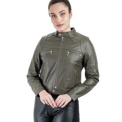 Jaqueta de Couro Feminina Verde Militar Cecília - ELITE COURO