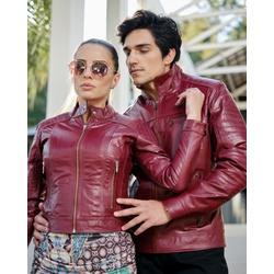 Jaqueta de Couro Feminina Shiny Vermelho Verônica - ELITE COURO