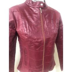 Jaqueta de Couro Feminina Shiny Vermelho Patchwork - ELITE COURO