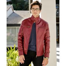 Jaqueta de Couro Masculina Shiny Vermelho Miguel - ELITE COURO