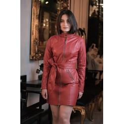 Trench Coat de Couro Feminino Vermelho - ELITE COURO