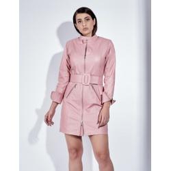 Trench Coat de Couro Feminino Rosa - ELITE COURO
