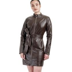 Trench Coat de Couro Feminino Marrom - ELITE COURO