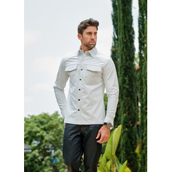 Camisa de Couro Masculina Branca Henry - ELITE COURO