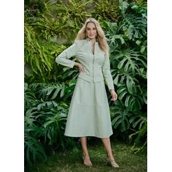 Jaqueta de Couro Feminina Verde Menta Jolie - ELITE COURO