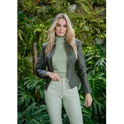 Jaqueta de Couro Feminina Verde militar Jolie - ELITE COURO