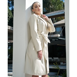 Trench Coat Botão Off-White Feminino - ELITE COURO