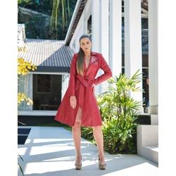 Trench Coat Botão Vermelho Feminino - ELITE COURO