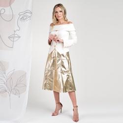 Saia Midi de Couro Dourada Amanda - ELITE COURO