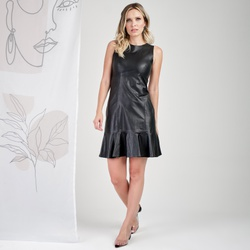 Vestido de Couro Feminino Preto Lívia - ELITE COURO