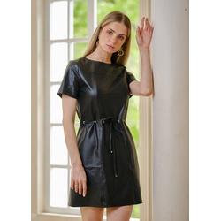 Vestido de Couro Preto Mirela - ELITE COURO
