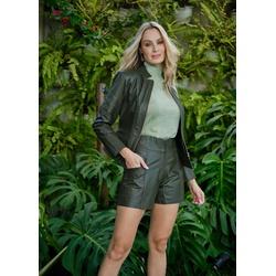 Short de Couro Verde Militar Jessica - ELITE COURO