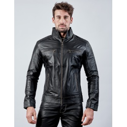 Jaqueta de Couro Masculina Preta Miguel - ELITE COURO