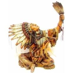 Índio Cacique com Penacho Sentado - 5294 - ELLA ARTESANATOS