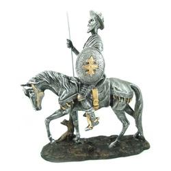Dom Quixote de La Mancha Prata no Cavalo - 1370 - ELLA ARTESANATOS
