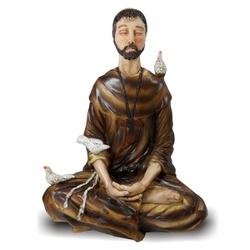 São Francisco Sentado Meditando em Resina Importad... - ELLA ARTESANATOS