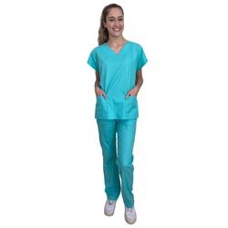 Pijama Cirúrgico Feminino - Azul Claro - Empório Materno