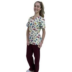 Pijama Cirúrgico Feminino - Borboletas 01 - Empório Materno