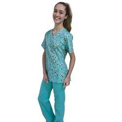 Pijama Cirúrgico Feminino - Medical Nursing Digital 01 - Empório Materno