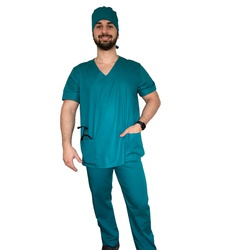 Pijama cirúrgico masculino verde tiffany