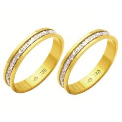Alianças bodas de prata em ouro amarelo e branco 1... - EMPORIUM DAS ALIANÇAS