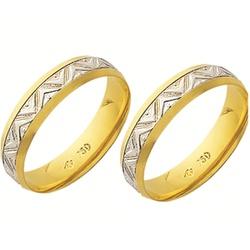 Alianças de casamento e noivado 2 tons em ouro 18k... - EMPORIUM DAS ALIANÇAS