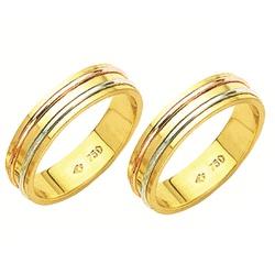 Alianças de casamento e noivado 3 tons em ouro 18k... - EMPORIUM DAS ALIANÇAS