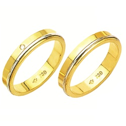Alianças de casamento e noivado 02 tons em ouro 18... - EMPORIUM DAS ALIANÇAS