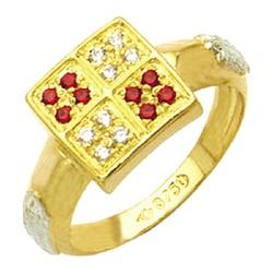 Anel de Formatura com diamantes todo natural em Ou... - EMPORIUM DAS ALIANÇAS