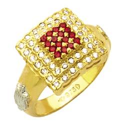 Anel de Formatura com diamantes e pedras central s... - EMPORIUM DAS ALIANÇAS