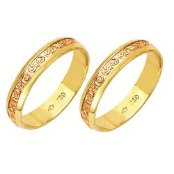 Alianças bodas de ouro em ouro amarelo e ouro verm... - EMPORIUM DAS ALIANÇAS