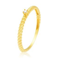 Anel Solitário em ouro 18k com Zircônias - A2795 - Enlace Alianças de ouro 18k