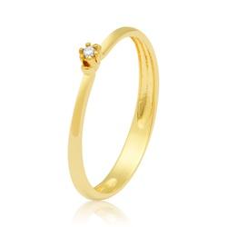 Anel Solitário em ouro 18k com Zircônias - A2796 - Enlace Alianças de ouro 18k