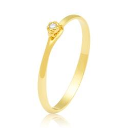 Anel Solitário em ouro 18k com Zircônias - A2804 - Enlace Alianças de ouro 18k