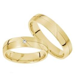 Par Alianças de Ouro 18 k Abaulada c/ Zirconia - A... - Enlace Alianças de ouro 18k