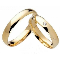 Par de Alianças de Ouro 18 k Abaulada c/ Zirconia ... - Enlace Alianças de ouro 18k