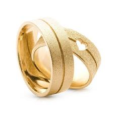 Par Alianças de Ouro 18 k Reta Fosca c/ Coração Va... - Enlace Alianças de ouro 18k