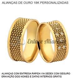 par de alianças de ouro 18k personalizadas com dia... - Enlace Alianças de ouro 18k