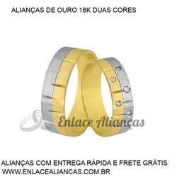 Alianças duas cores de Ouro 18 k - CB-81 - Enlace Alianças de ouro 18k